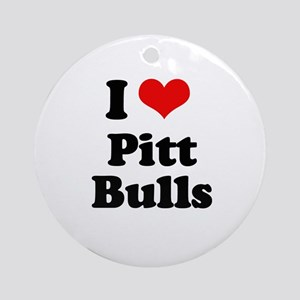 I Love Pitt Bulls Ornament (Round)