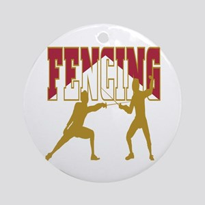 Fencing Logo (Red & Gold) Ornament (Round)