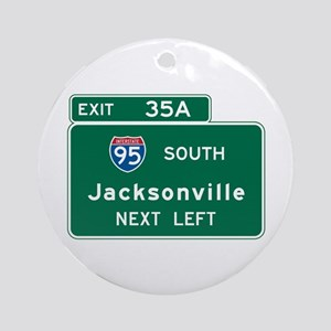 Jacksonville, FL Highway Sign Ornament (Round)