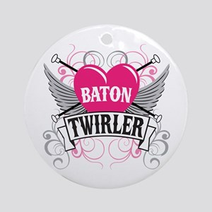 Baton Twirler Heart & Wings Ornament (Round)