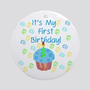 Cupcake First Birthday (Blue) Ornament (Round)