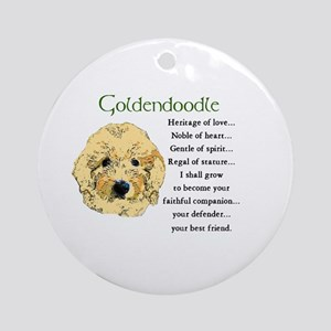 Goldendoodle Puppy Round Ornament