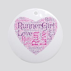 Runnergirl Heart Ornament (round)