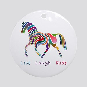 Rainbow horse gift Ornament (Round)