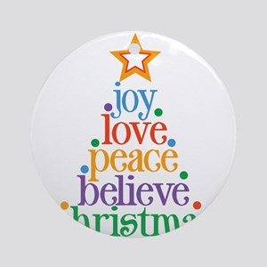 Joy Love Christmas Tree Round Ornament
