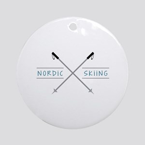 Nordic Skiing Ornament (Round)