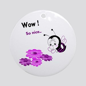Cutie Purple Bee Round Ornament