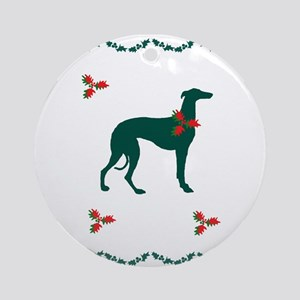 Sighthound and Holly Round Ornament