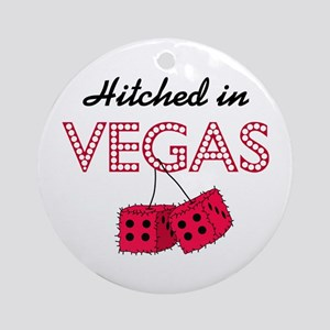 Hitched in Vegas Round Ornament