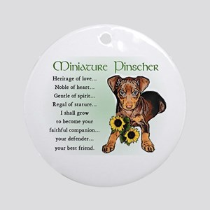 Miniature Pinscher Puppy Ornament (Round)