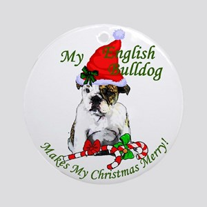 English Bulldog Christmas Round Ornament