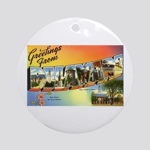 Greetings from Delaware Ornament (Round)