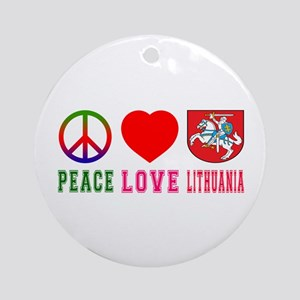 Peace Love Lithuania Ornament (Round)