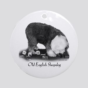 Old English Sheepdog Obedience Ornament (Round)