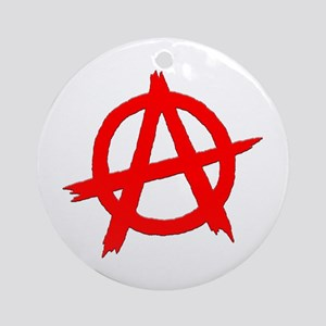 Anarchy Symbol Red Ornament (Round)