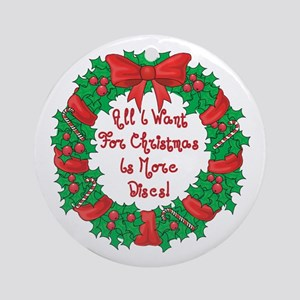 Wreath Disc Golf Christmas Ornament (Round)