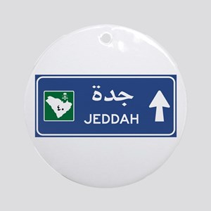 Jeddah Road Sign, Saudi Arabia Round Ornament