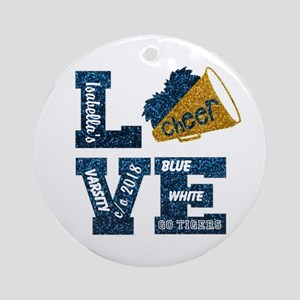 Cheerleader Love Personalize Round Ornament