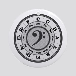 Bass Clef Circle of Fifths Ornament (Round)