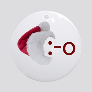 Oh! Emoticon with Santa Hat Ornament (Round)
