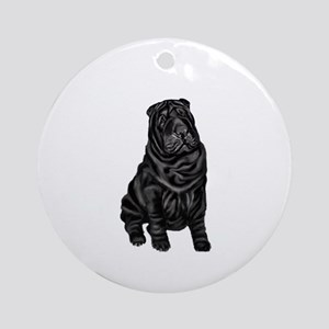 SharPei (blk) Ornament (Round)
