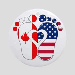 Canadian American Baby Ornament (Round)