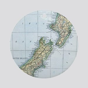 Vintage Map of New Zealand (1921) Round Ornament