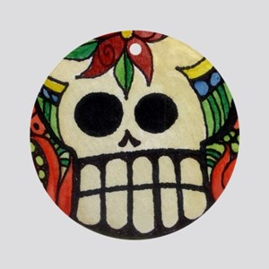 Amor Day of the Dead Skull Round Ornament