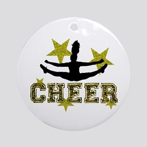 Cheerleader Gold and Black Ornament (Round)