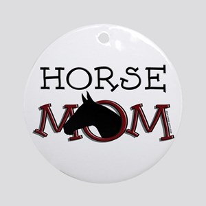 Black horse mom Mother's Day Ornament (Round)