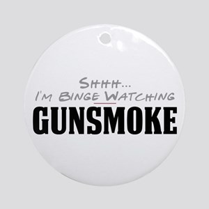 Shhh... I'm Binge Watching Gunsmoke Round Ornament