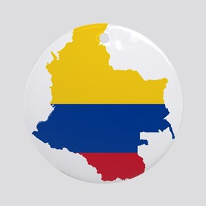 Colombia Civil Ensign Flag and Map Ornament (Round