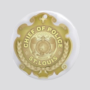 Chief of Police 3d Metallic Round Ornament
