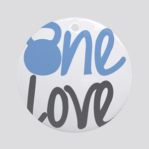 Blue One Love Kettlebell Round Ornament