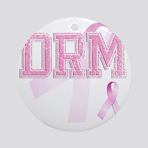 DRM initials, Pink Ribbon, Round Ornament