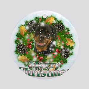 Merry Christmas Rottweiler Round Ornament