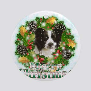 Merry Christmas Border Collie Round Ornament