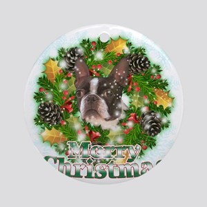 Merry Christmas Boston Terrier Round Ornament