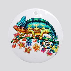 Colorful Camouflage Chameleon Round Ornament