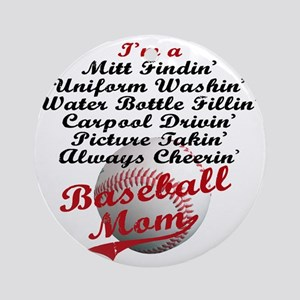Baseball_Mom Round Ornament