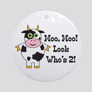 Cute Cow 2nd B-day Ornament (Round)