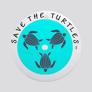 Save the Turtles Blue Logo Round Ornament