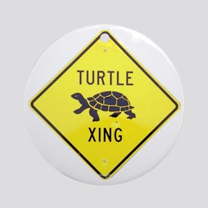 Turtle Crossing Round Ornament