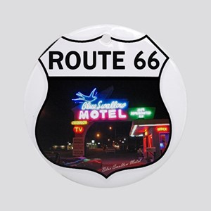 Route 66 - Blue Swallow Motel, Tucu Round Ornament