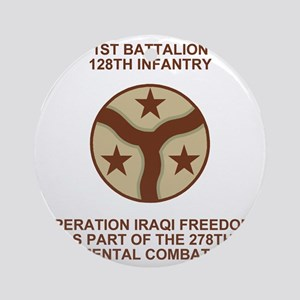 ARNG-128th-Infantry-1st-Bn-Iraq-Shi Round Ornament