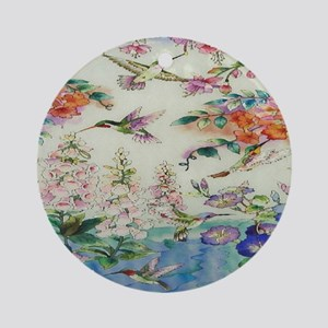 HUMMINGBIRDS_PAINTING_CANVAS_12BY14 Round Ornament