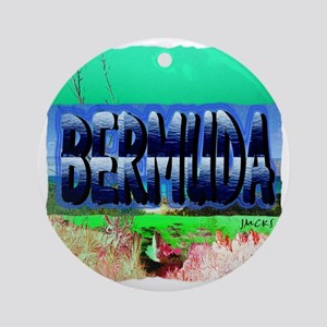 bermuda pencil art illustration Round Ornament