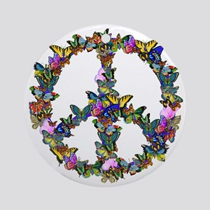 Butterflies Peace Sign Ornament (Round)