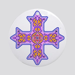 Violet Coptic Cross Ornament (Round)