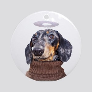 Angel Spotted Doxie Ornament (Round)
